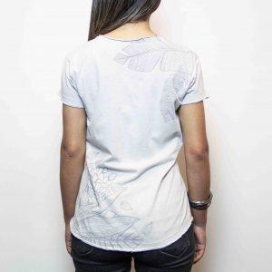 Camiseta Folhas Cinza | Feminina