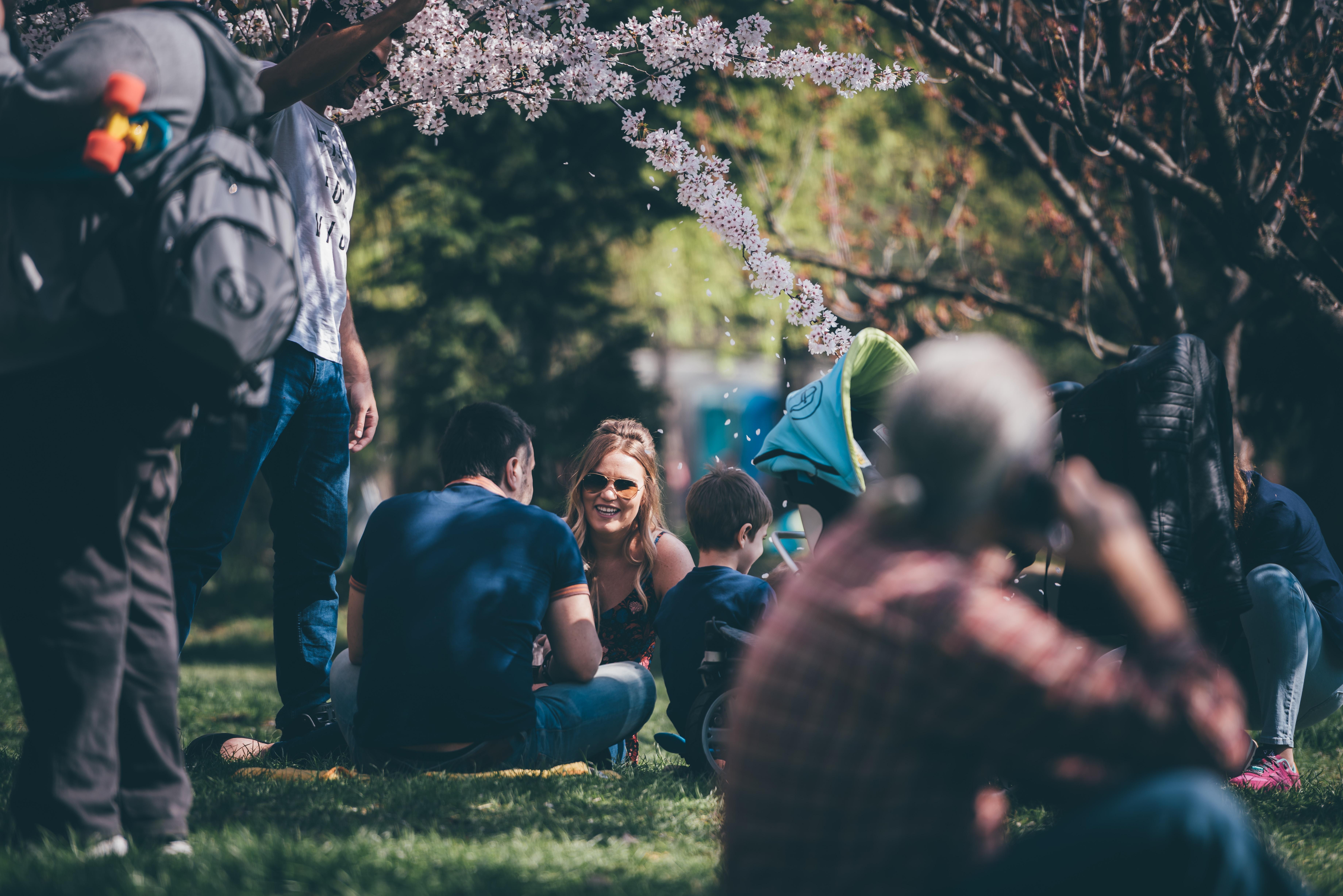 liderança familiar no parque